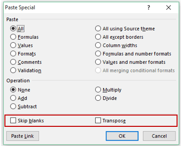 Excel Paste Special Shortcuts - Additional Options
