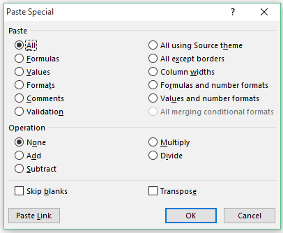 Excel Paste Special Shortcuts - Dialogue Box