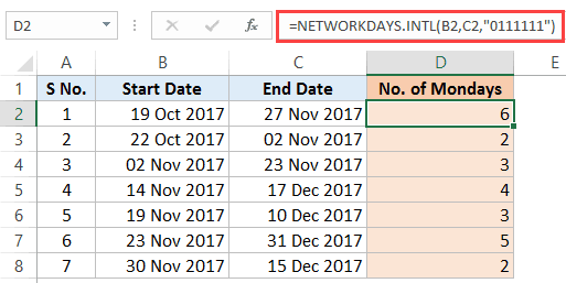 Calculate the Number of Days Between Two Dates in Excel - monday result