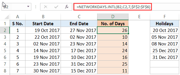 Calculate the Number of Days Between Two Dates in Excel - networkdays intl result