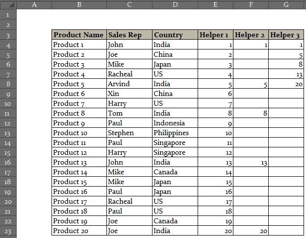 Drop Down List Selection in Excel helper column 3