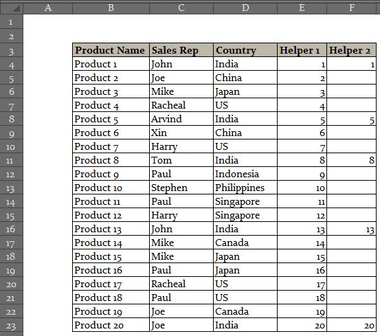 Drop Down List Selection in Excel - Helper Columns