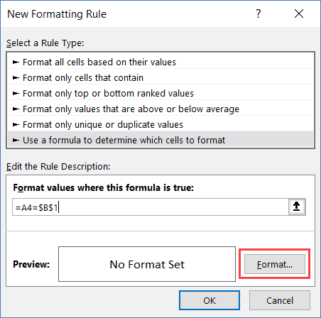 Format to highlight the searched cells