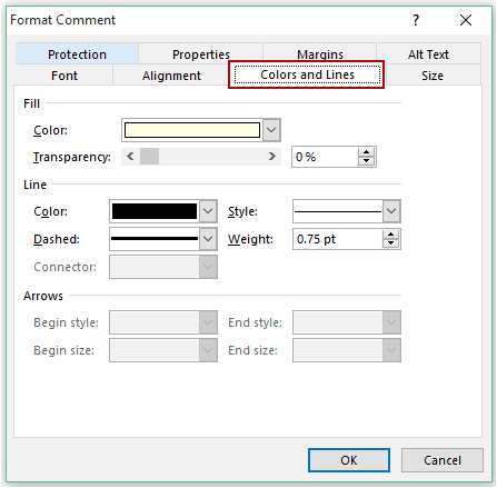 How to Insert a Picture in Excel Comment - color lines