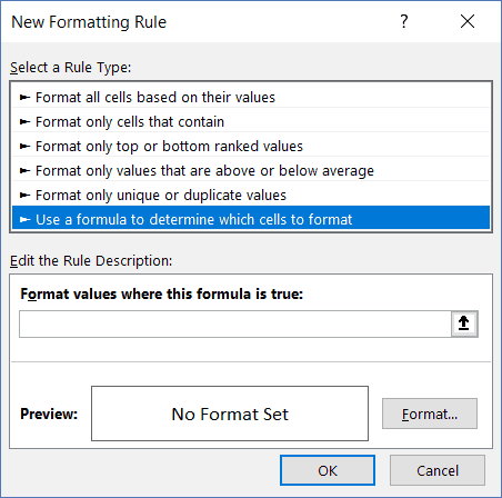 New Formatting Rule dialog box