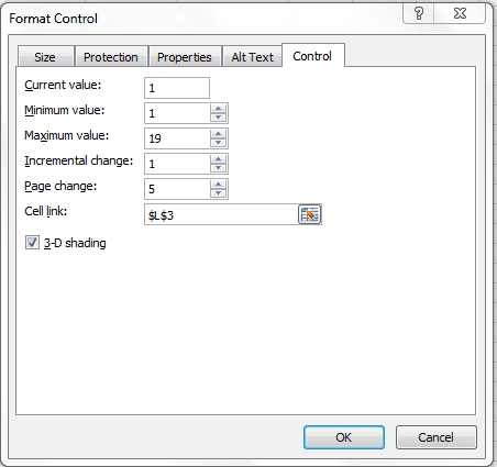 Scroll Bar in Excel- format control dialogue box settings