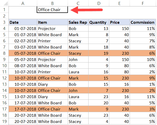 Search and Highlight entire row - dataset
