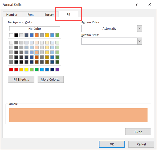 Specifying the Color to Highlight searched cells