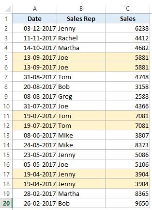 Filtro avanzado de Excel: conjunto de datos de ventas