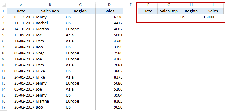 Excel Advanced Filter - criteira Specify