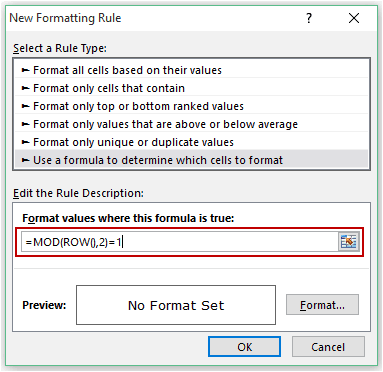 Highlight Every other Row in Excel using Conditional Formatting - MOD Formula