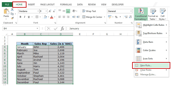 Highlight Every other Row in Excel using Conditional Formatting - New Rule