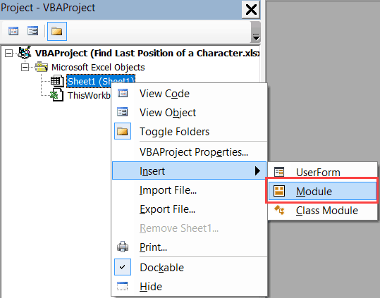Last Position of a Character in a String - Insert Module in VB Editor