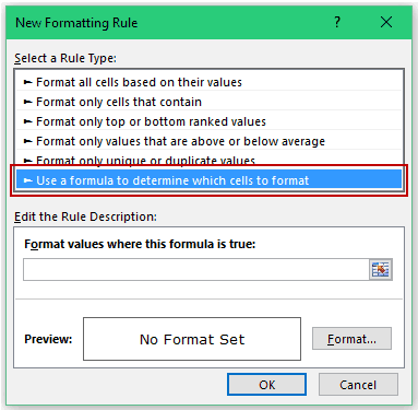 Conditional Formatting in Excel - Use formula