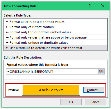 Conditional Formatting in Excel - formula format