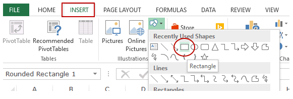 Create Summary Worksheet with Hyperlinks in Excel - insert shape