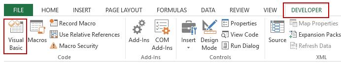 Selecting Visual basic in the Developer Tab