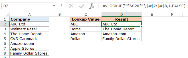 Using VLOOKUP with wildcard characters to find partial matches