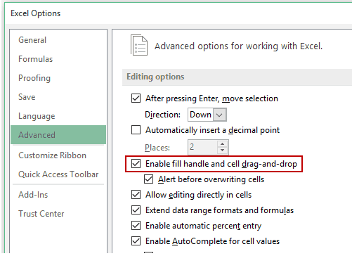 how to use fill handle in excel - Enable Fill Handle