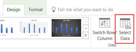 Combo Charts in Excel - click on Select Data in Design tab