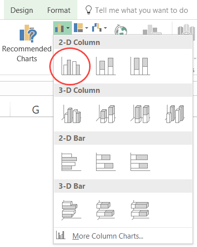 Excel Combination Charts - click on clustered column chart