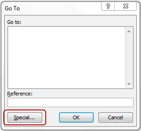 select blank cells in excel - Go to Dialogue box