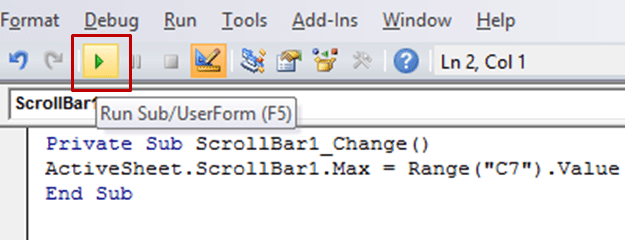Adjust Scroll Bar Maximum Value based on a Cell Value in Excel VBA Code