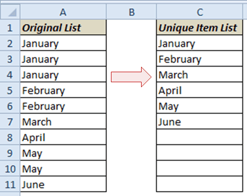Get Unique Items from a List in Excel