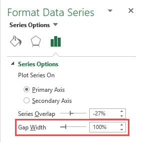 Actual Vs Target Chart in Excel - change gap width to 100%