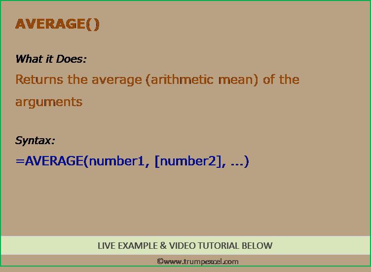 Average Formula Excel 187 Trump Excel