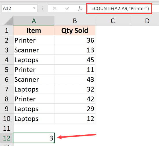 COUNTIF Formula to count the number of times printer repeats