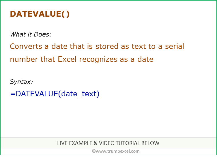 Excel DATEVALUE Function