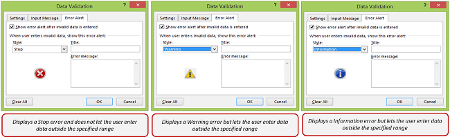 Data Validation in Excel - Error Messages Types