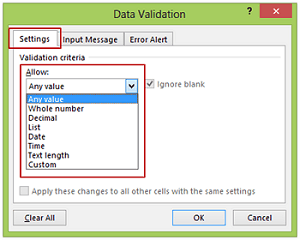 Data Validation In Excel Data Entry Restricted