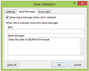 Data Validation In Excel Display Message Dialogue Box