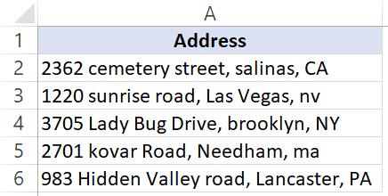 Dataset for Proper formula Excel - example 2