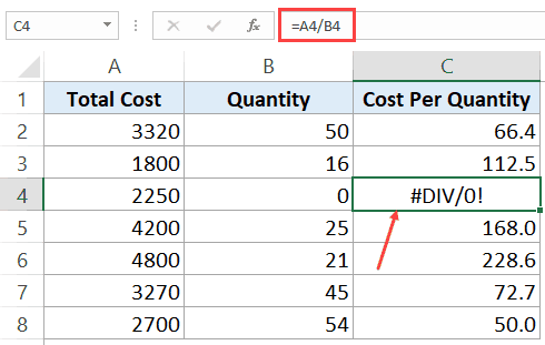 Division Error in Excel