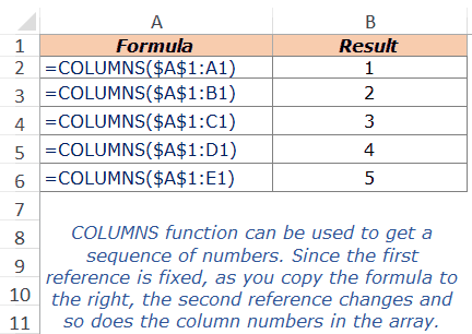 Excel COLUMNS Function - Example 2