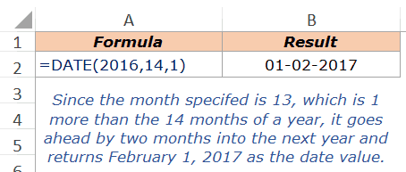 Excel DATE Function - Example 2a