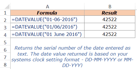 Excel DateValue Example 1