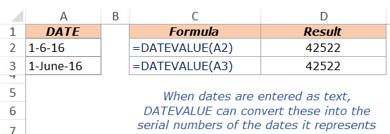 Excel DateValue Example 3
