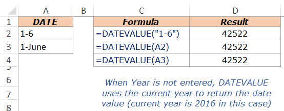 Excel DateValue Example 4