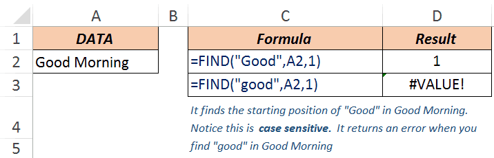 Excel FIND Function - Example 1