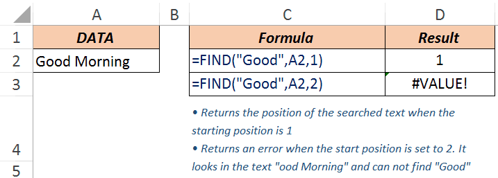 Excel FIND Function - Example 2