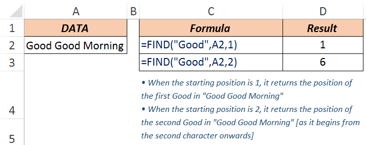 Excel FIND Function - Example 3