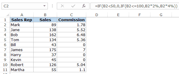 Excel If Function - Commission
