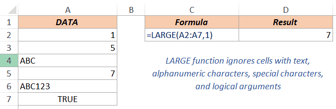Excel LARGE Function - Ignores Text