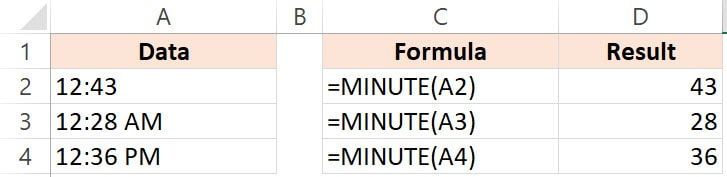 Excel Minute function Example 2