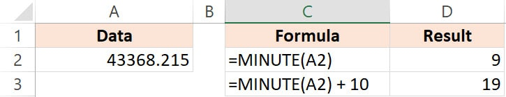 Excel Minute function Example 4