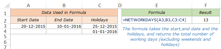 Excel Networkdays Function - Example 2